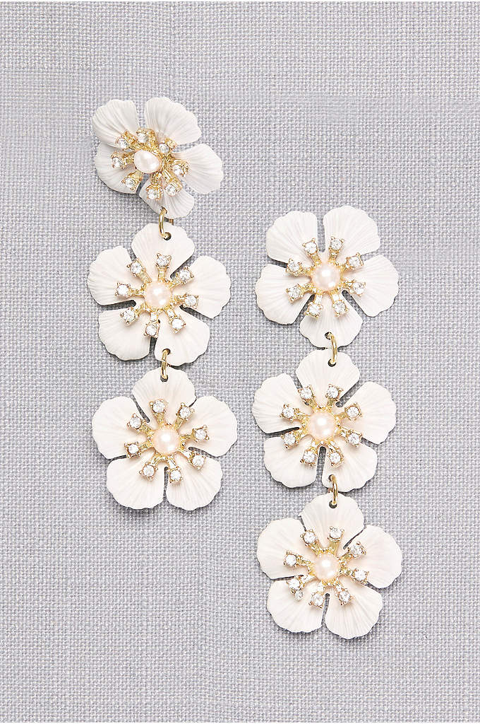 Etched Flower Drop Earrings with Pearl Centers - Delicately etched petals burst from lustrous pearl centers