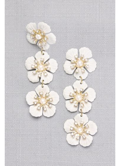 Etched Flower Drop Earrings with Pearl Centers - Wedding Accessories
