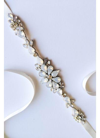 Opal and Swarovski Crystal Floral Motif Sash - Gleaming opals, freshwater pearls, and Swarovski crystals create