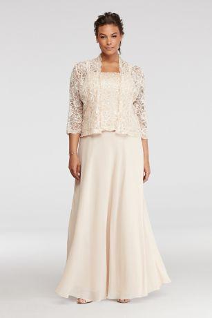 Petite Plus Size Dress With Sequin Lace Jacket Davids Bridal
