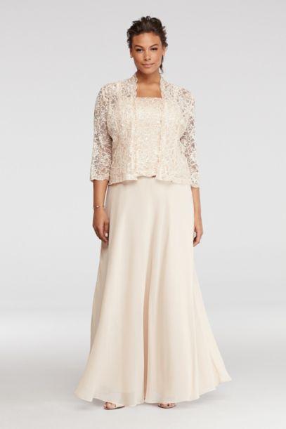Petite Plus Size Dress With Sequin Lace Jacket David S Bridal