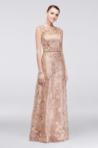 Floral-Embroidered Illusion Ball Gown with Sequins