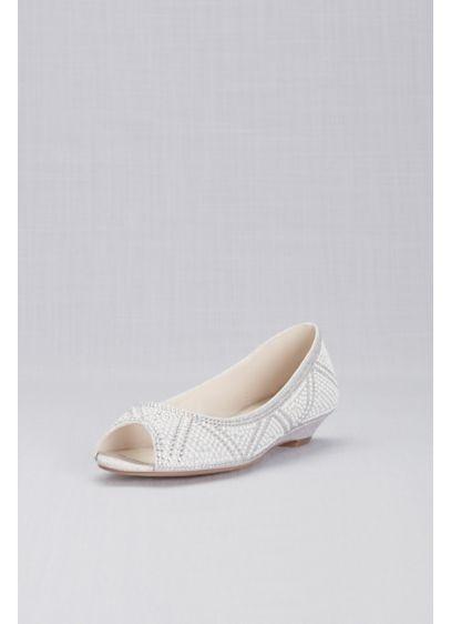 David's Bridal Grey (Geometric Pearl Peep-Toe Flats)