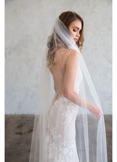 Raw-Edge Silk Tulle Chapel Veil with Crystals - Wedding Accessories