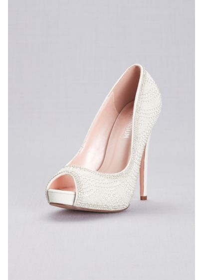 Crystal Encrusted Peep-Toe Platform Heels - Dazzling sparkle makes a lasting impression on these