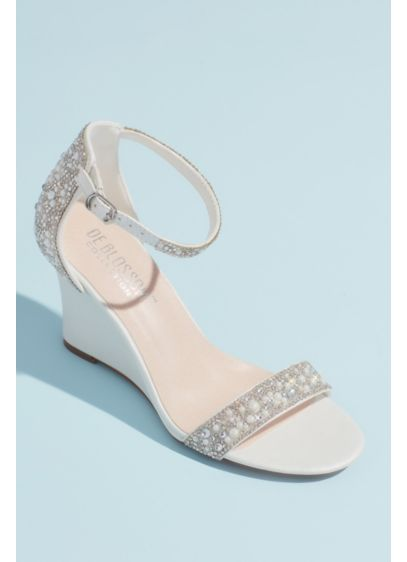 Crystal and Jewel Embellished Wedge Sandals - Pearly jewels, brilliant crystals, and pave stones encrust