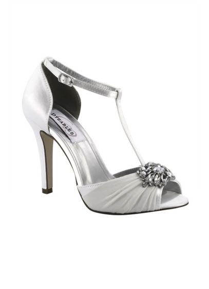 Dyeable Silk Chiffon T-Strap Heels with Crystals - A crystal ornament adds dazzle to the gathered