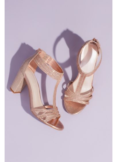David's Bridal Pink (Glitter T-Strap Block Heel Sandals with Crystals)