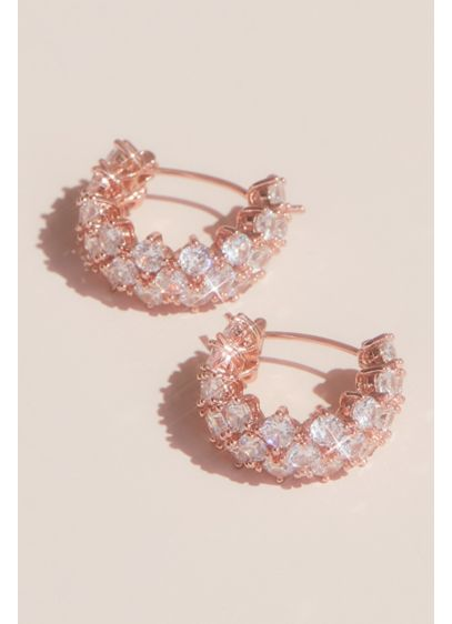 Cubic Zirconia Huggie Hoop Earrings - These timeless huggie hoop earrings feature crystals stacked