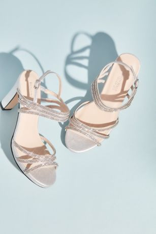 Benjamin Walk Grey Heeled Sandals (Metallic Sandals with Triple Skinny Crystal Straps)