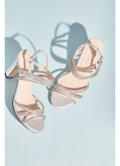Benjamin Walk Grey (Metallic Sandals with Triple Skinny Crystal Straps)