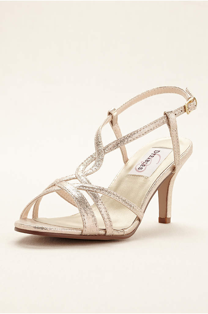 Elvira Strappy Sandal - Beautifully delicate, these shimmering strappy metallic sandals will