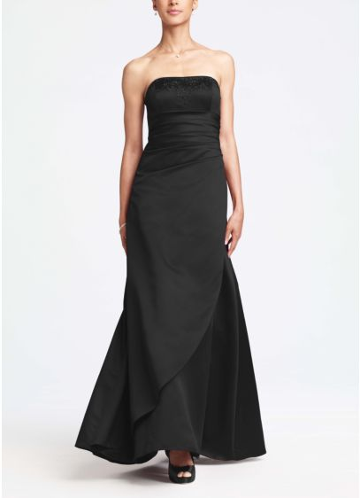 09ab5a2fdba Satin Ball Gown Featuring Side Ruching and Beading. F11165. Long A-Line  Strapless Dress -