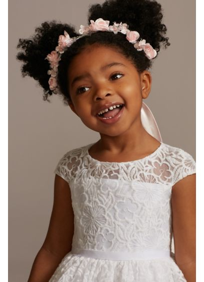 Floral and Pearl Embellished Flower Girl Wreath - Beautiful fabric blossoms, accented with shining pearls, adorn