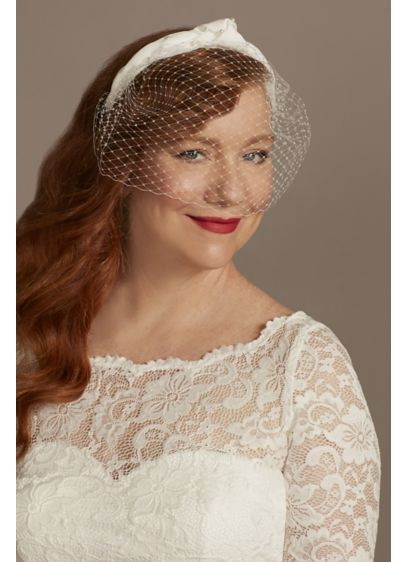 Gathered Fabric Headband with Tulle Blusher - Wedding Accessories