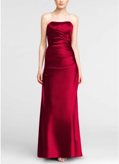 Long Red David's Bridal Bridesmaid Dress