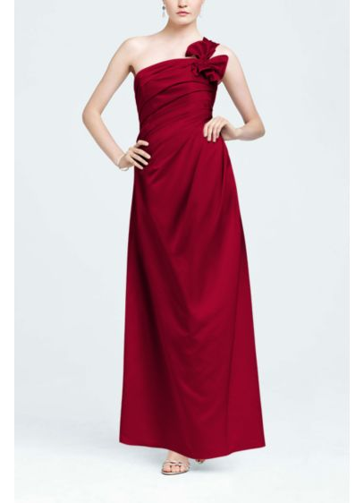 Long Red Structured Bridesmaid Dress