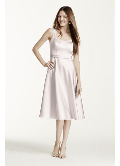 Tea Length Pink Structured David's Bridal Bridesmaid Dress