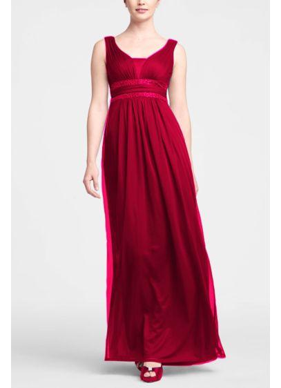 Long Red Soft & Flowy Bridesmaid Dress