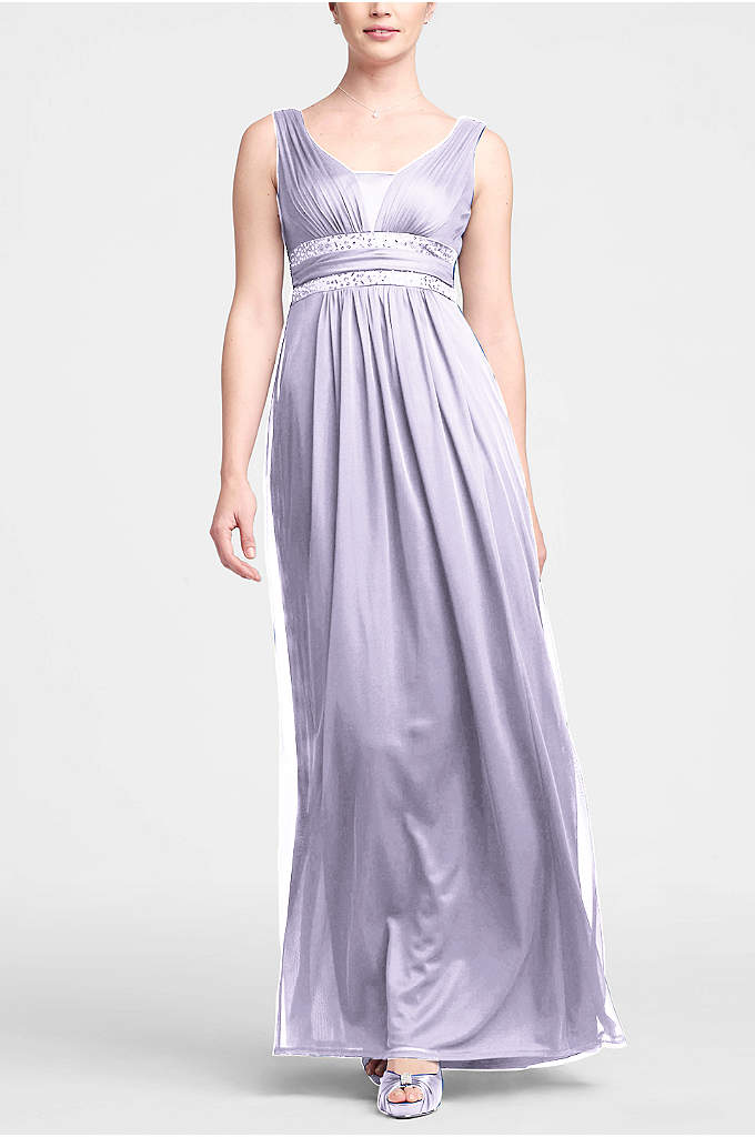 Sleeveless Long Dress with Double Banded Detail