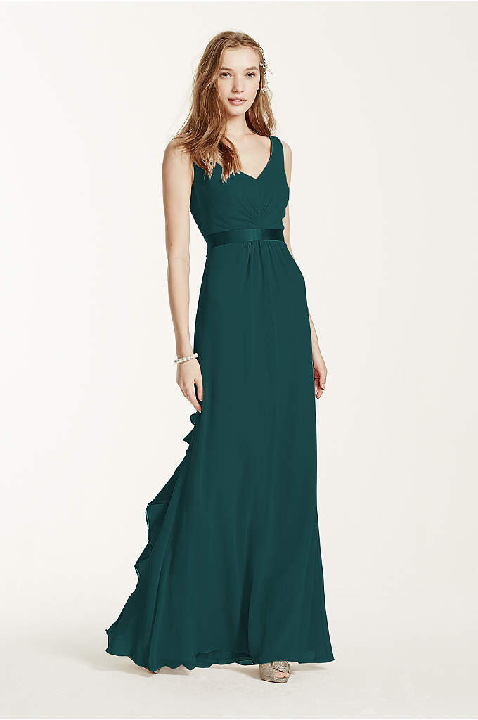 Sleeveless Chiffon Dress with Ruffled Back Detail