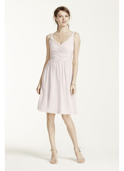 Short Green Soft & Flowy David's Bridal Bridesmaid Dress
