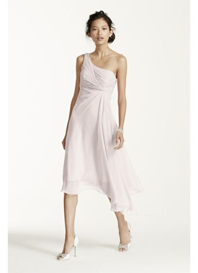 Short One Shoulder Chiffon Dress F15608 Grey Soft Flowy David S Bridal Bridesmaid