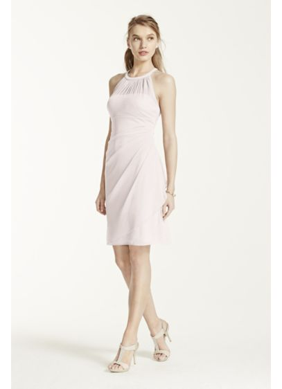 Short Grey Soft & Flowy David's Bridal Bridesmaid Dress