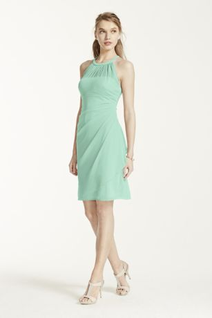 Soft & Flowy David's Bridal Short Bridesmaid Dress