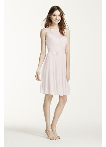 Short Mesh Dress With Sweetheart Illusion Neckline Davids Bridal