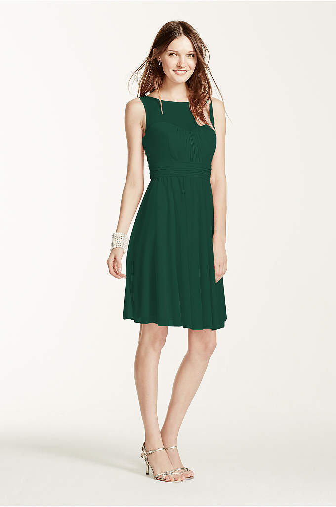 Short Mesh Dress with Sweetheart Illusion Neckline - Your bridesmaids will love this short and chic