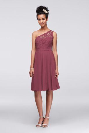 Short Sheath One Shoulder Dress - David's Bridal