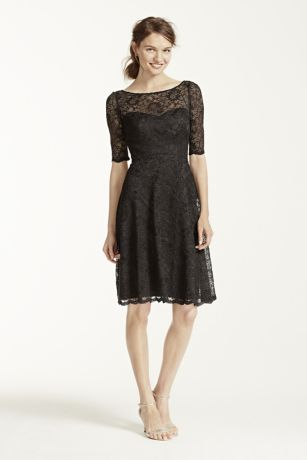 Black Short Lace Bridesmaid Dresses