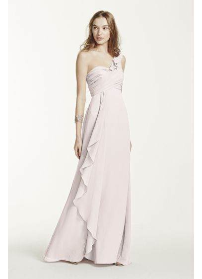 e0864b6bb541a One Shoulder Chiffon Dress with Cascading Detail. F15734. Long Brown Soft &  Flowy David's Bridal Bridesmaid Dress