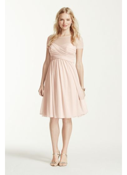 Short Brown Soft Flowy David S Bridal Bridesmaid Dress