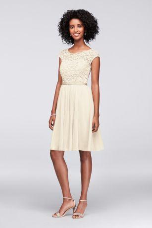 Soft & Flowy;Structured David's Bridal Short Bridesmaid Dress