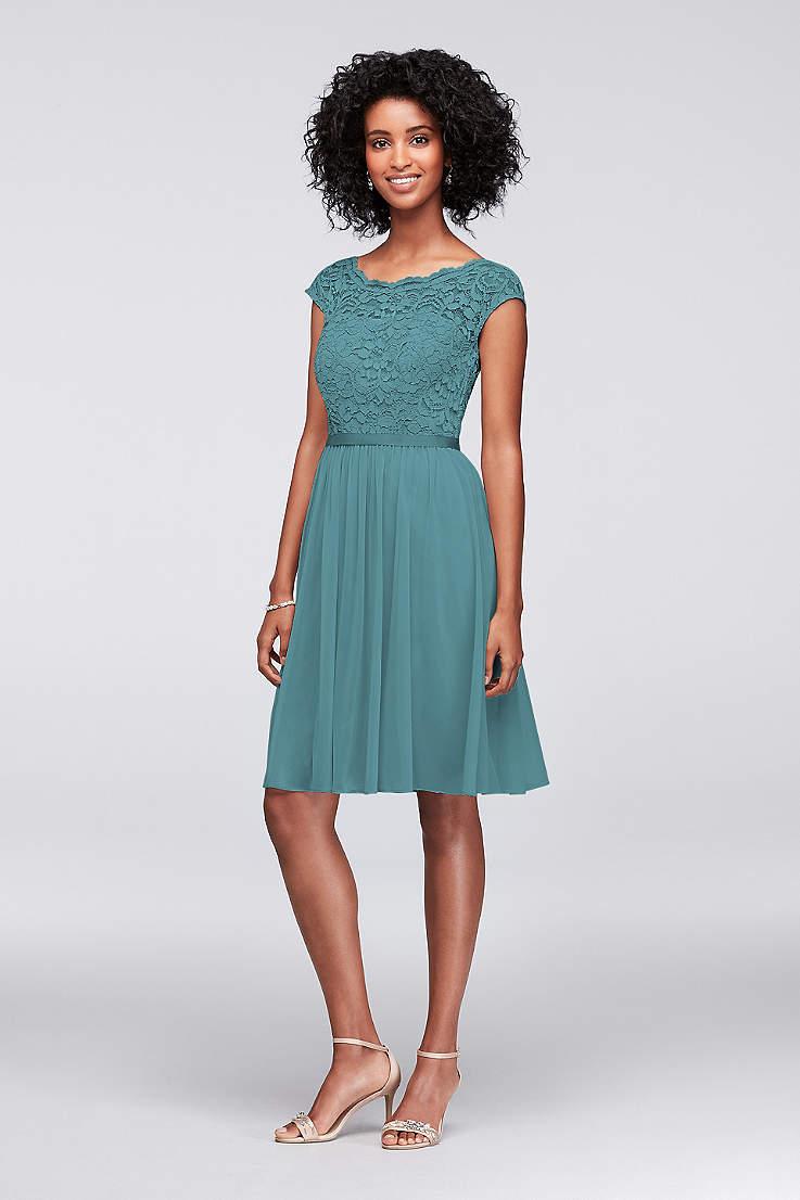 195ddb80559 Soft   Flowy Structured David s Bridal Short Bridesmaid Dress