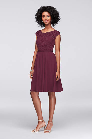 Short Lace and Mesh Dress with Illusion Neckline in Wine