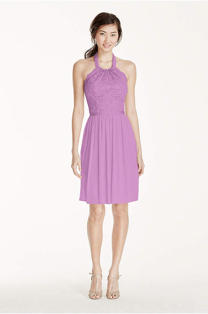 Short Lace Mesh Dress with Halter Neckline - This bridesmaid dress is ultimately flattering for any