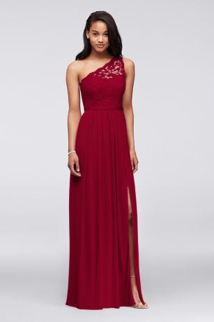 ad054db0ee4 Long One Shoulder Lace Bridesmaid Dress