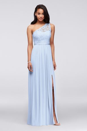 Long One Shoulder Lace Bridesmaid Dress Pastel Dresses