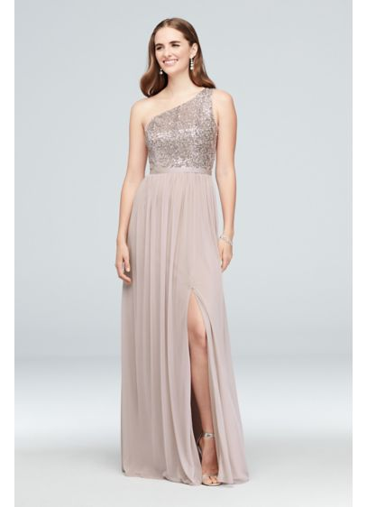 Mesh and Sequin One-Shoulder Bridesmaid Dress - This long bridesmaid dress features a glittering sequin