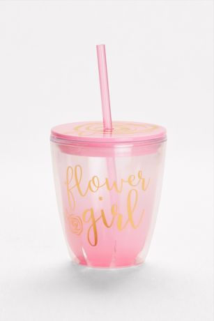 Flower Girl Steel Tumbler with Lid and Straw Wedding Party Gift for Little Kid