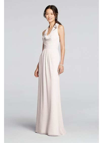 Long Chiffon Dress with Front Cowl Neckline | David\'s Bridal