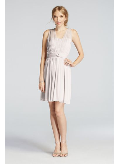 Short Orange Soft & Flowy David's Bridal Bridesmaid Dress