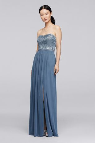 Soft & Flowy;Structured David's Bridal Long Bridesmaid Dress