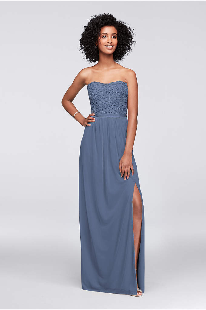 Lace and Mesh Long Strapless Dress - Our lace/mesh combination styles, like this long strapless