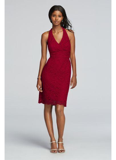 Short Red Soft & Flowy David's Bridal Bridesmaid Dress