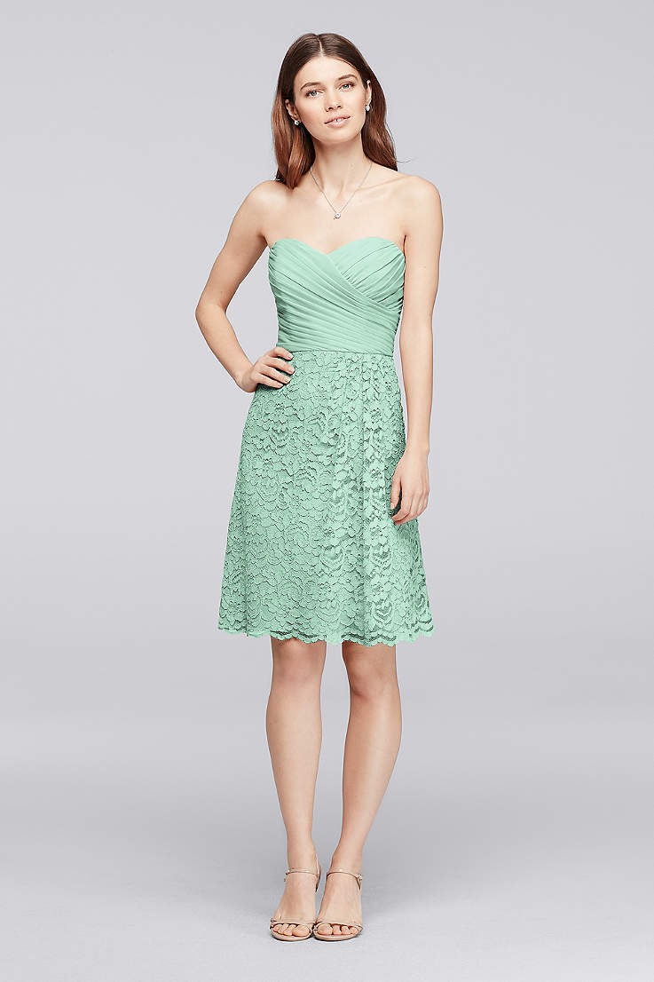 8924728f55cd Soft & Flowy;Structured David's Bridal Short Bridesmaid Dress