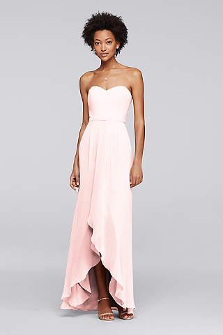 Vestido Para Dama Strapless Con Olán Asimétrico.